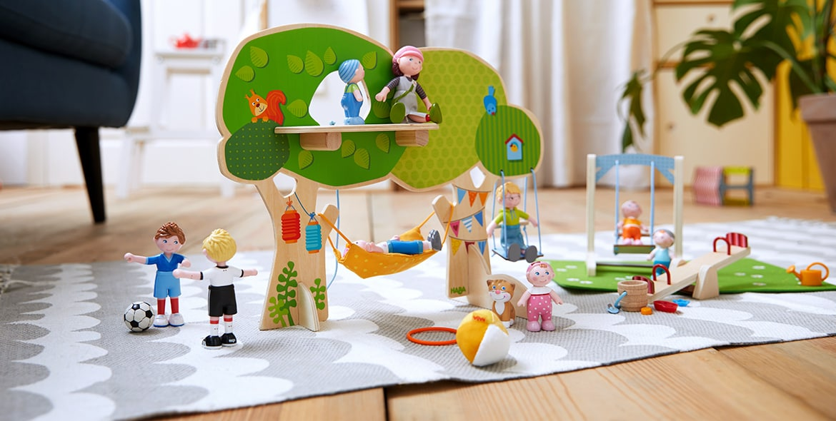 Let's go outside: Playing in the Little Friends' tree house and garden