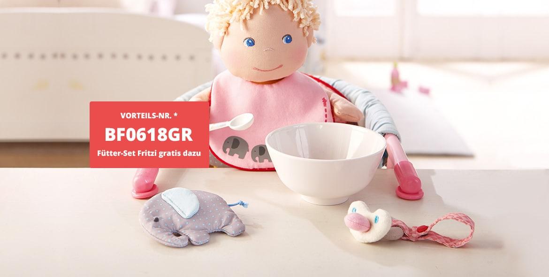 Babypuppe Fritzi kaufen – Fütterset im Wert von 14,95 € geschenkt bekommen!