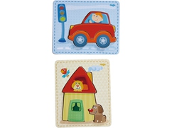 Puzzle de madera Casa y coche