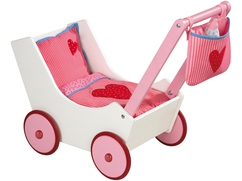 Doll Pram with bag and feeding bottle