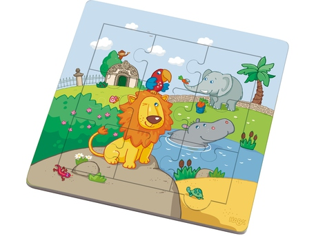 Framed Wooden Puzzle The Lion and his Friends