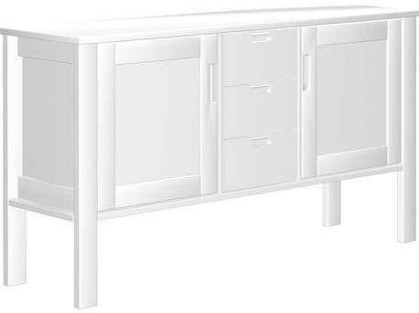 Dresser 2-door with 3 drawers, low